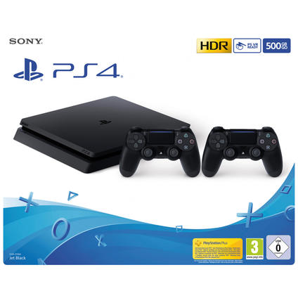 PS4 500GB black + 2 DualShock4 black