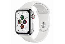 Apple Watch Series 5 Cellular Silver Stainless Steel 44mm Sport Band White Vertical 34R US EN PRINT