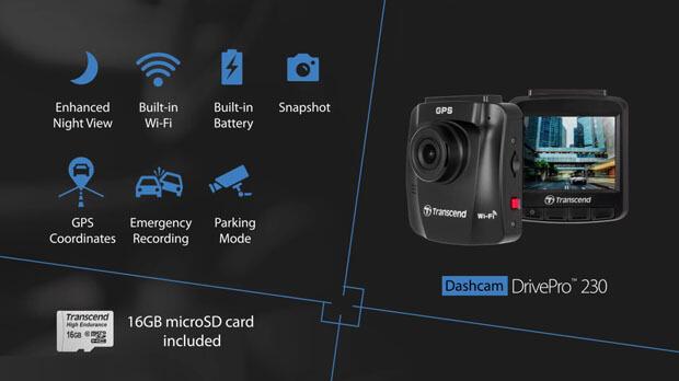 transcend drivepro 230 dashcam auto kamera fust online shop. Black Bedroom Furniture Sets. Home Design Ideas